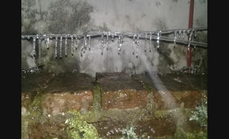 Desde barrio Ferreyra, todo congelado. Foto de Estrella.