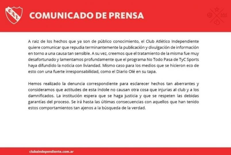 Abusos: duro comunicado de Independiente repudiando a Gustavo Grabia