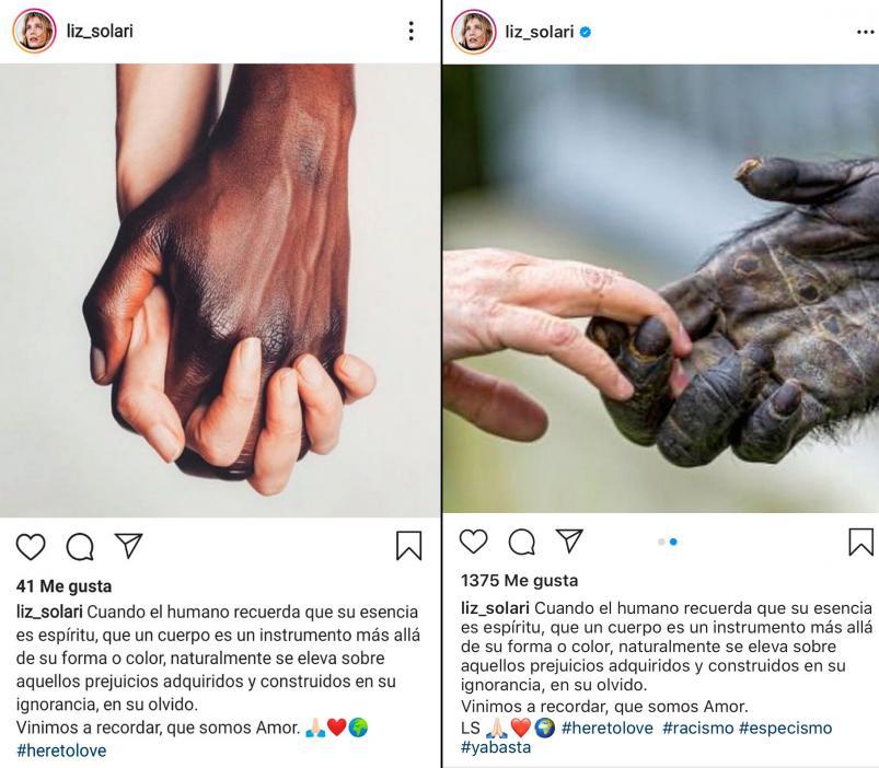 Liz Solari publicó una foto antiracista y recibió miles de críticas