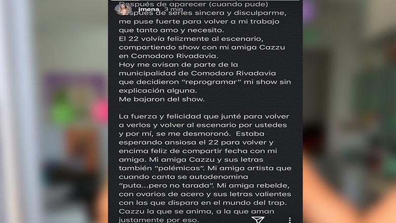 El descargo de Jimena Barón porque la bajaron de un show